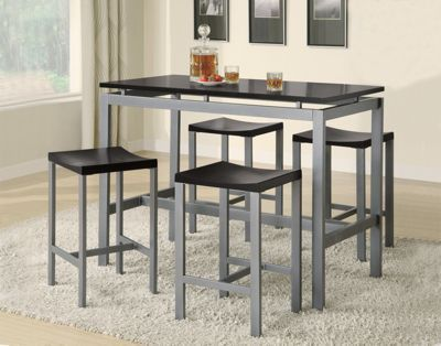 Edgemere Contemporary Five-Piece Counter Height Dining Set - Black .