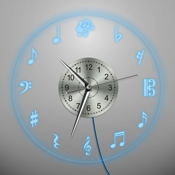 Musical Notes Acryl Wanduhr Bunte Led Beleuchtung Musik Thema .