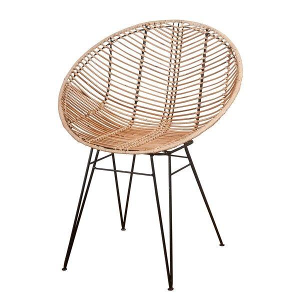 Korb-/Rattan Stuhl Sakura im Hoop Design für Esstisch oder Lounge .