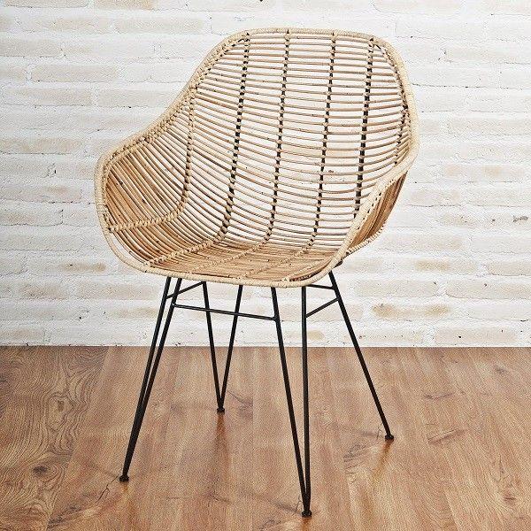 Designstuhl Viggo echt Rattan natur Moderner Rattan-Stuhl mit .