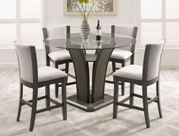Crown Mark 1710 5pc Dinette Set | 1710 Grey | Dining Room Groups .