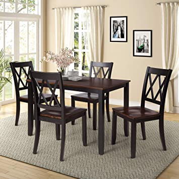 Amazon.com - Harper & Bright Designs 5 Piece Wood Dining Table Set .