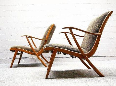 pair german mid century easy chairs #midcentury #armchair .