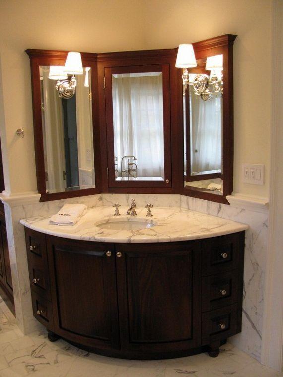 Eckbadezimmer-Eitelkeiten (wo sich die Wanne befindet und die .