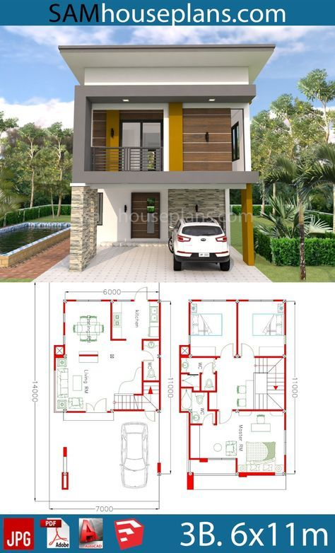 House Plans 6x11m with 3 Bedrooms   Schmale hauspläne, Moderne .