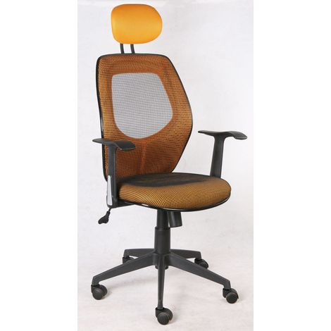 Ergonomischer Schreibtischstuhl mit 5 Rollen und Netzbezug, gelb .