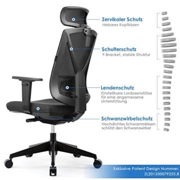 INTEY Ergonomischer Schreibtischstuhl - Belastbar bis 200kg .