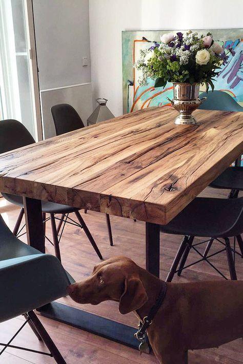 Esstisch Tisch aus massivem Holz Nussbaum Holztisch Naturkante .