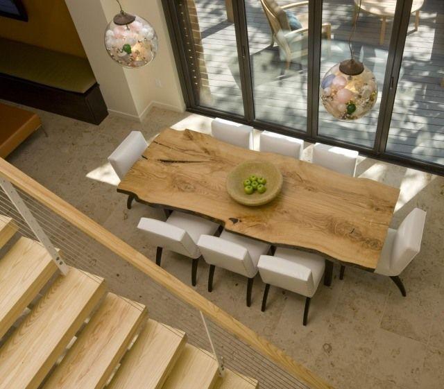 Table salle à manger moderne- 30 idées originales | Wood slab .