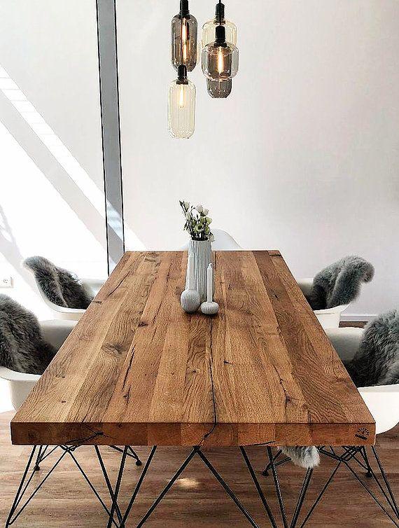 Massivholztisch Designtisch Esstisch Holztisch aus Eichenholz .