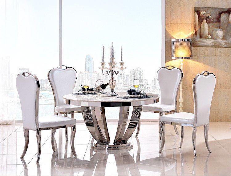 Edelstahl Esszimmer Set Home Möbel minimalistischen moderne glas .