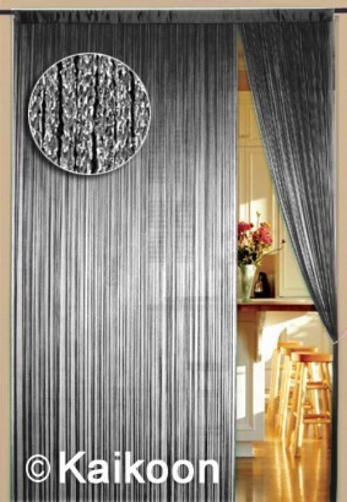 Fadenvorhang 90 cm x 240 cm silber glänzend (BxH) Fadenvorhänge .