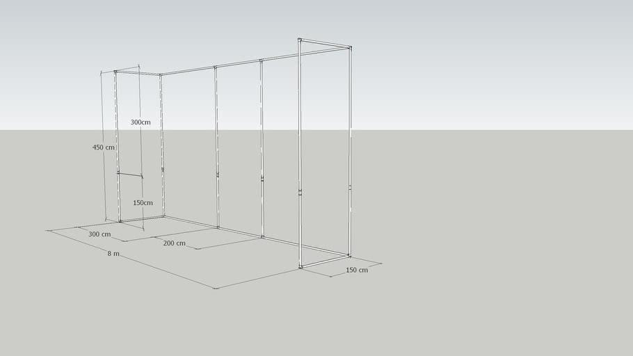 JS 800x450x150 Fadenvorhänge Gestell | 3D Warehou