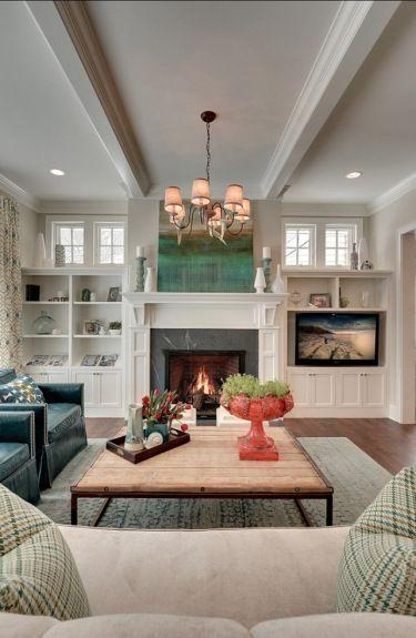 DIY Familienzimmer Einbauten mit Marmorkaminverkleidung - DIY .