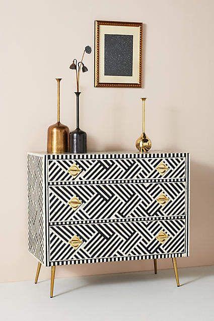 Anthropologie Optical Inlay Three-Drawer Dresser #ad #homedecor .