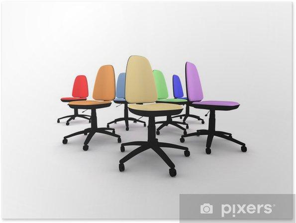 Poster Sieben Regenbogen farbige Bürostühle getrennt auf Weiß .