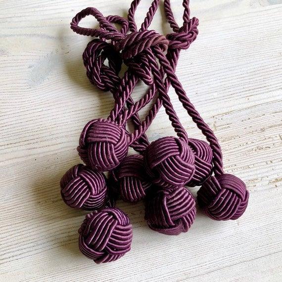 1960s-70s set of 4 silk purple knot drape tassels Vintage curtain .
