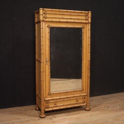 Französischer Kleiderschrank aus falsch Bambus mit Spiegel   Barneb