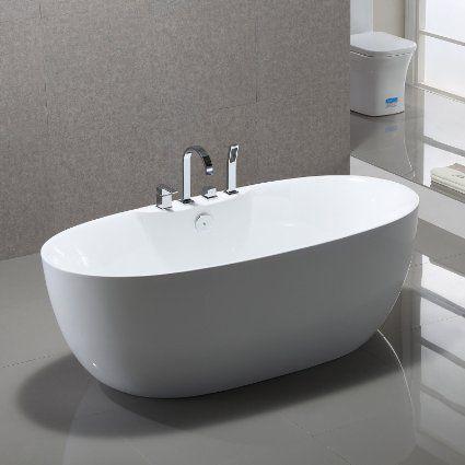 Freistehende Badewanne Kiel 170x80cm Sanitäracryl Weiß Modern .