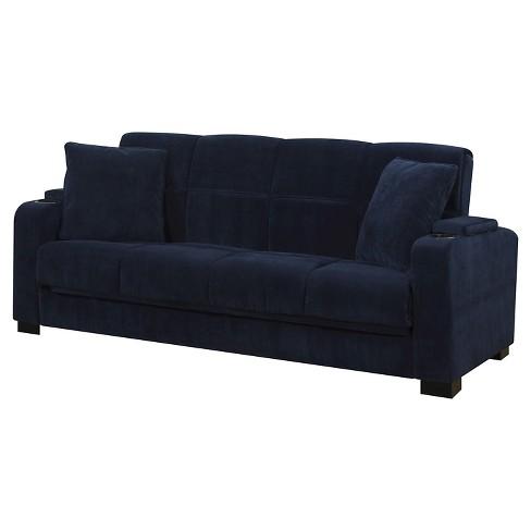Susan Velvet Convert-a-Couch Storage Arm Futon Sofa Sleeper .