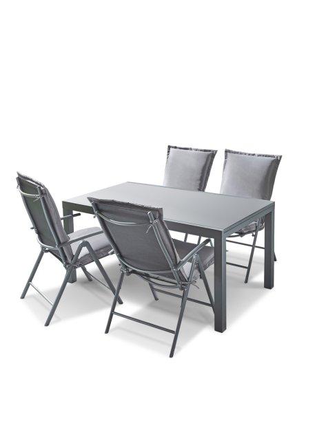 Gartenmöbelset für 4 Personen mit Klappstühlen und ausziehbarem .