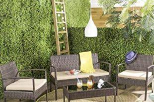 Warmiehomy 4-Sitzer Rattan Gartenmöbel Set braun Wintergarten .