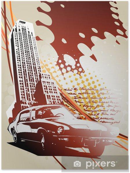 Poster Abstraktes Gebäude-Design mit Auto • Pixers® - Wir leben .