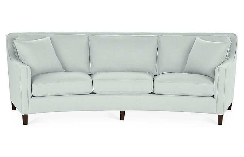 Cayman Curved Sofa - Seafoam Linen - Miles Talbott - frame .
