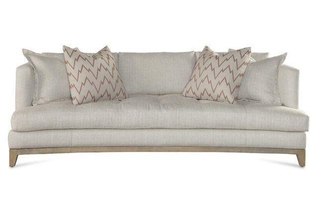 "Willis 94"" Linen Sofa, Herringbone | Curved sofa, Sofa, Sofa styli"