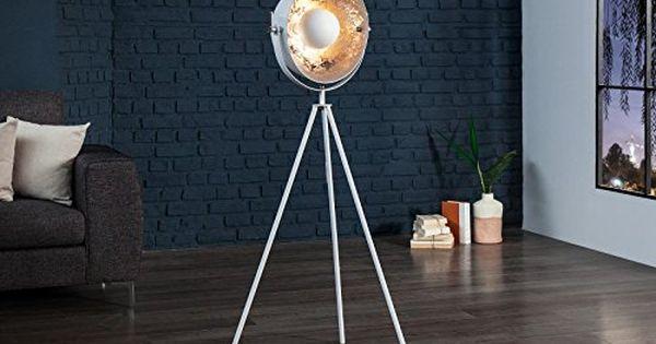 DuNord Design Stehlampe Stehleuchte CINEMA 140cm weiss / silber .
