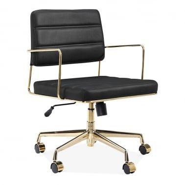 Grosvenor Gepolsterter Bürostuhl aus Leder - Schwarz / Gold - #aus .