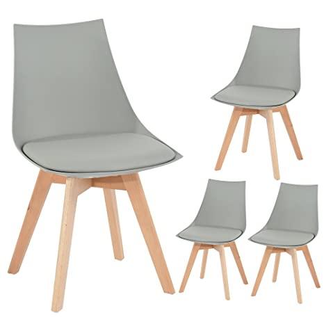 EGGREE 4er Set Holz küchen stühle, Retro gepolsterter Bürostuhl .