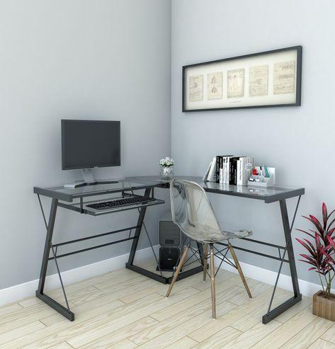 madison klare Glas computer Schreibtisch, modernen Büro zu Hause .