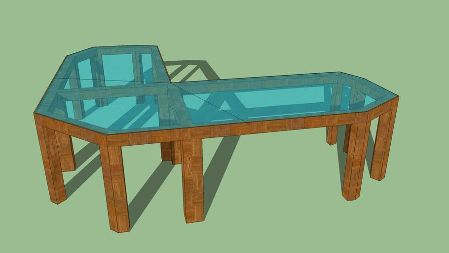 Holz Glas Schreibtisch   3D Warehou