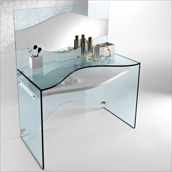 Eleganten Durchsichtigen Glas Schreibtisch Schichten Von Tonelli .