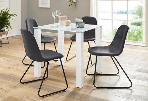 Essgruppe, (Set, 5-tlg), mit Glastisch, Breite 80 cm online kaufen .