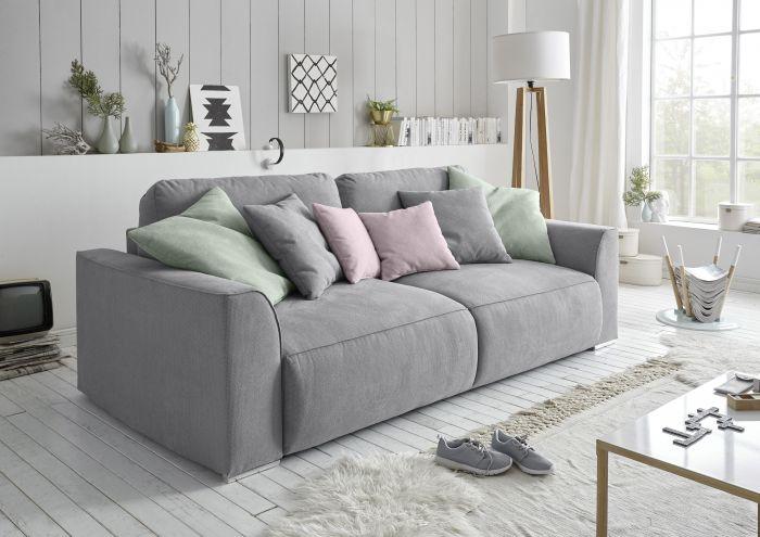 Couch Sofa Zweisitzer LAZY Schlafcouch Schlafsofa ausziehbar grau .