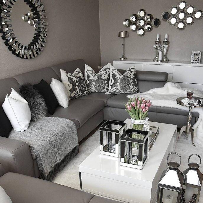 Schwarz Weiß und Grau Wohnzimmer Design | Gray living room design .