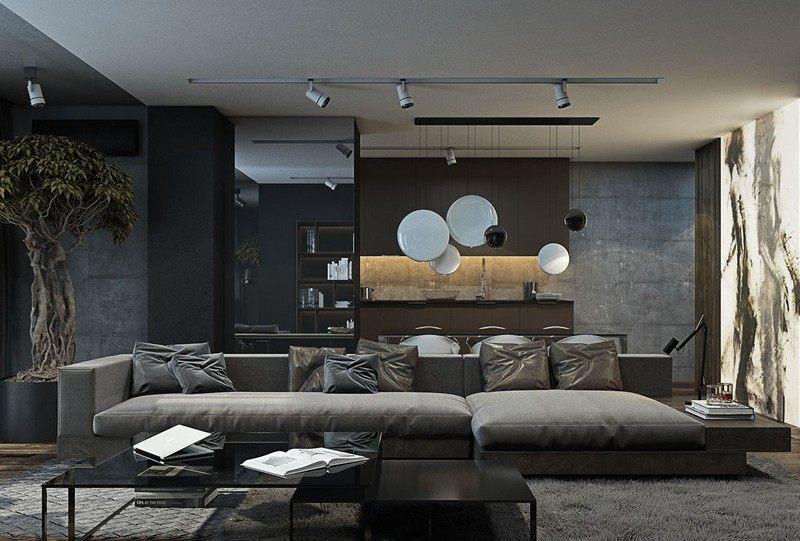 Wohnzimmer in Grau und Schwarz gestalten - 50 Wohnide