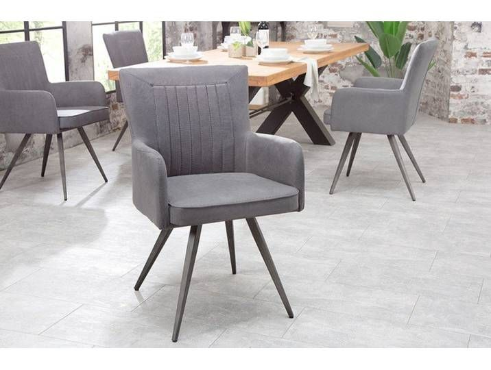 Retro Design Stuhl ROADSTER antik grau mit Armlehnen und Federkern .