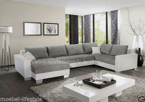 Wohnlandschaft-XL-Format-Ecksofa-im-U-Form-in-weiss-grau-Sofa .