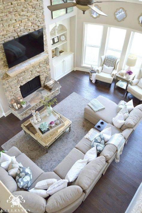 Wohnzimmer Möbel Layout Ideen | Familienhaus, Große räume und Haus .