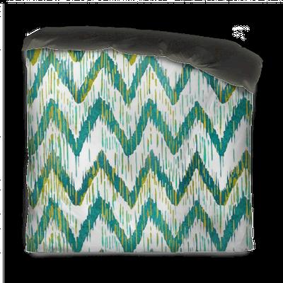 Bettbezug Aquarell Ikat Chevron nahtlose Muster. Grüne und blaue .