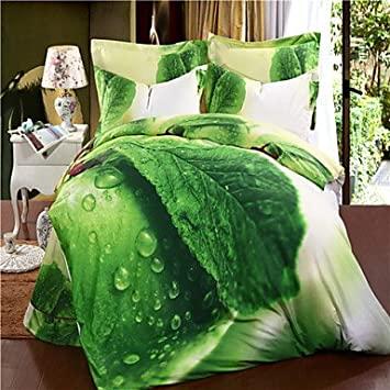 ANG mingjie grüne Blätter queen Bettwäsche Porzellan Duvert .