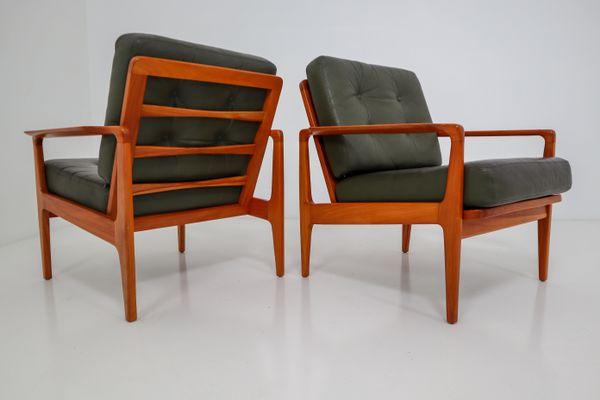 Grüner Ledersessel von Arne Wahl Iversen, 1960er bei Pamono kauf