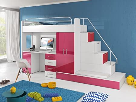 Hochbett TOMI - Schreibtisch, Schrank, Treppe und Gästebett mit .