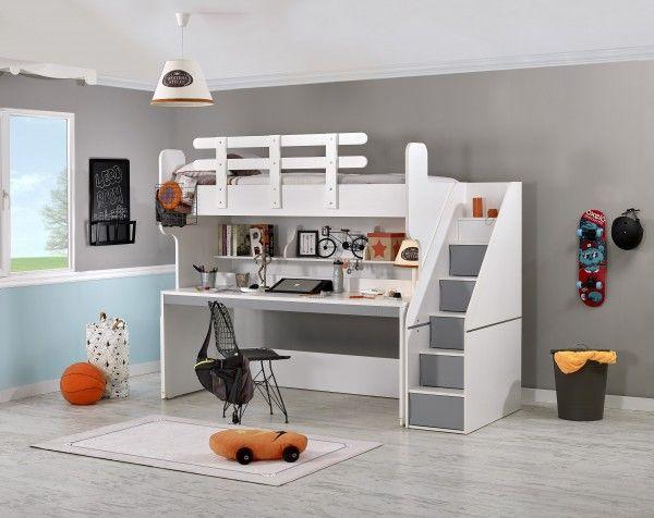 Hochbett PUZZLE mit Schreibtisch, grau   Möbel Ze