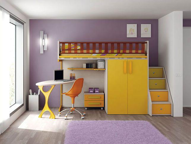 Hochbett / Schreibtisch / für Kinder (Jungen und Mächen) EK15 .