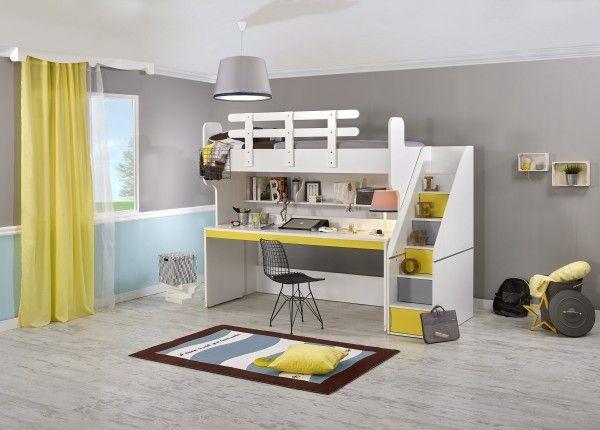 Hochbett PUZZLE mit Schreibtisch, gelb   Möbel Ze