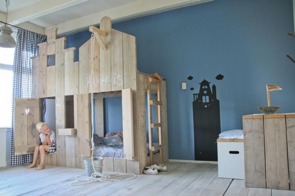 Hochbett für Kinder aus Gerüstholz - Bett Bauholz bei Möbelhaus .